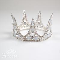 Шикарная серебряная корона с камнями для девочек