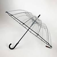 """Прозрачный зонт-трость, полуавтомат с черной ручкой и каймой по краю купола от """"MAX"""",  1015-2, фото 1"""