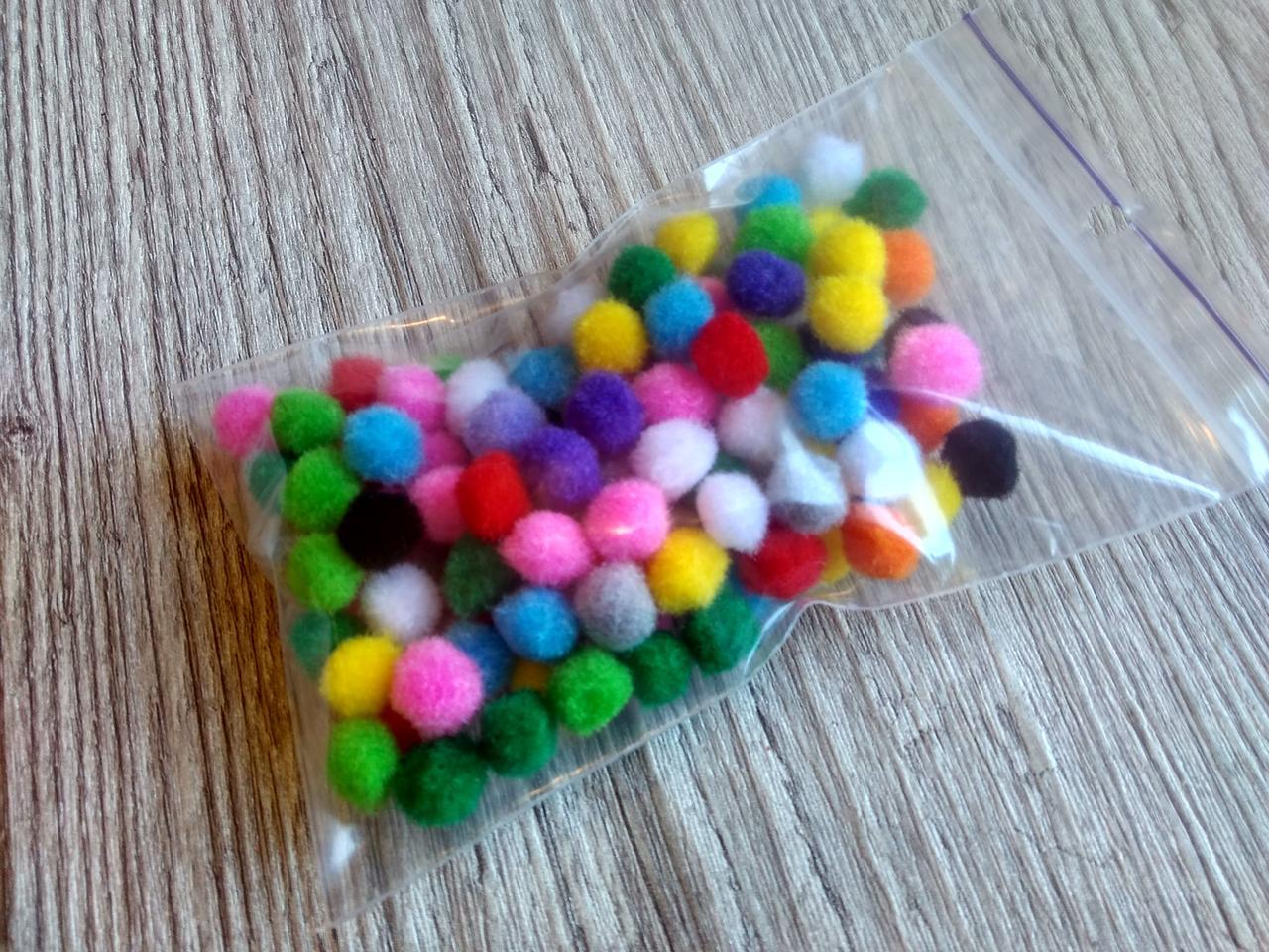 Помпоны - шарики микс D - 1 см, 100 шт - 10 грн
