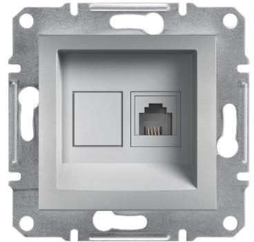 Розетка телефонная RJ11 4 конт. Asfora, алюминий , EPH4100161