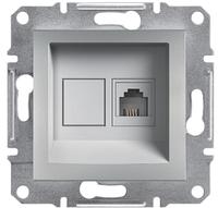 Розетка телефонная RJ11 4 конт. Asfora, алюминий , EPH4100161, фото 1