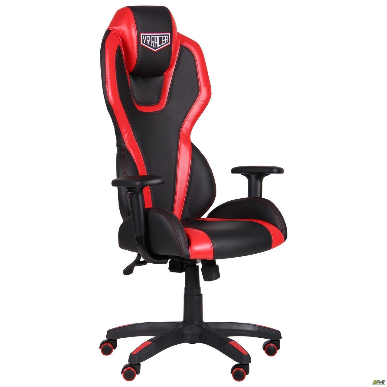 Кресло геймерское AMF VR Racer Atom чёрное с красными вставками