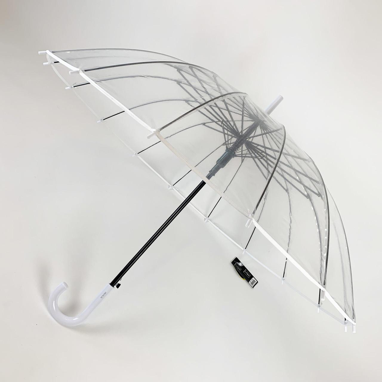 """Прозрачный зонт-трость, полуавтомат с белой ручкой и каймой по краю купола от """"MAX"""",  1015-1"""
