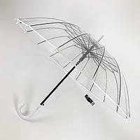 """Прозрачный зонт-трость, полуавтомат с белой ручкой и каймой по краю купола от """"MAX"""",  1015-1, фото 1"""