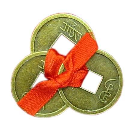 Монети (3 шт) (2,5 см) у гаманець темні червона стрічка (100 шт/уп)