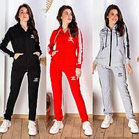 Женский спортивный костюм реплика adidas штаны и кофта c капюшоном в расцветках 42 44 46 48 50 52 54 56