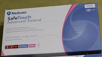 Перчатки нитриловые розовые неопудренные SAFE TOUCH 100 шт./уп,