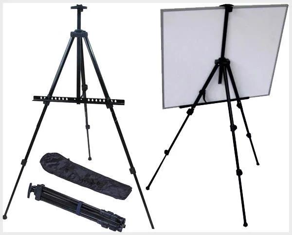 Мольберт алюминиевый 4 в 1 переносной, складной, напольный, настольный (чёрный) с чехлом-сумкой для переноски