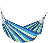 Подвесной гамак без перекладины изи толстой ткани Rino 200х80см. 170кг. в чехле Зелено Синий (WB571821)
