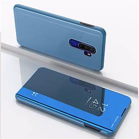 Чехол книжка для Realme X2 Pro боковой с зеркальной крышкой, Голубой