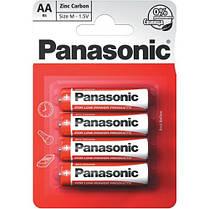 Батарейки пальчиковые Panasonic Red Zinc Carbon АА / LR6 (R6RZ/4BP), 1.5В. 4 шт. в блистере.