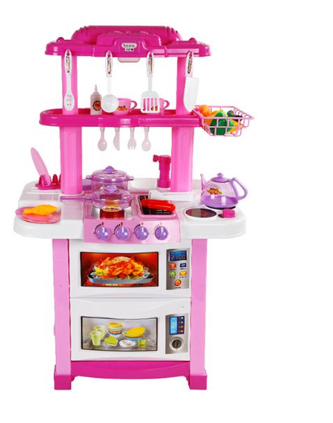 Большая двухсторонняя игровая розовая кухня Happy Little Chef / 768B