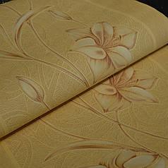 Обои на стену шпалери акрилові на паперовій основі жовті квіти лилии желтые 0,53*10м