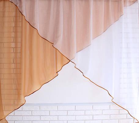 Кухонная занавесь №53 Цвет кофейный с белым, фото 2