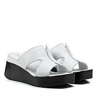Шлепанцы женские TRIO (кожаные, на танкетке, качественные, белые, комфортные)обувь
