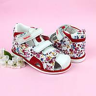 Босоножки для девочки Ортопед Белые с красным цветочным принтом ТМ Том.М размер 22,26