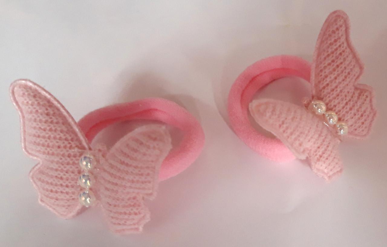 Детские резинки для волос бабочки 2 шт, розовые