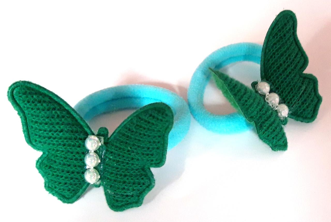 Детские резинки для волос бабочки 2 шт, зеленые