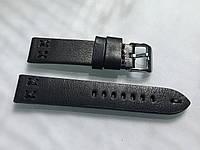Кожаный ремешок для наручных часов 20 мм черный итальянская кожа, ручная работа, прошитый, мягкий