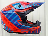 Кроссовый мото шлем MT Falcon сине оранжевый размер M 57-58, фото 1