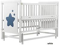 Кроватка для новорожденных тм Дубок Звездочка с съемным маятниковым механизмом (цвет белый, ваниль)