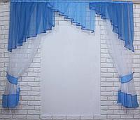 Кухонная занавесь, шторки с ламбрекеном. Цвет синий. На карниз 2м. №49 (У)
