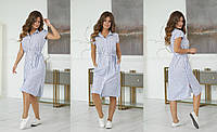 Летнее женское льняное платье-рубашка под пояс с карманами 42, 44, 46, 48