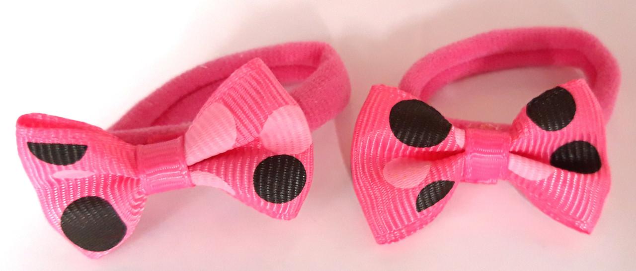 Детские резинки для волос 2 шт бантики в горошек малиновые
