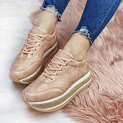 😜Весенние женские кроссовки с высокой подошвой розовые