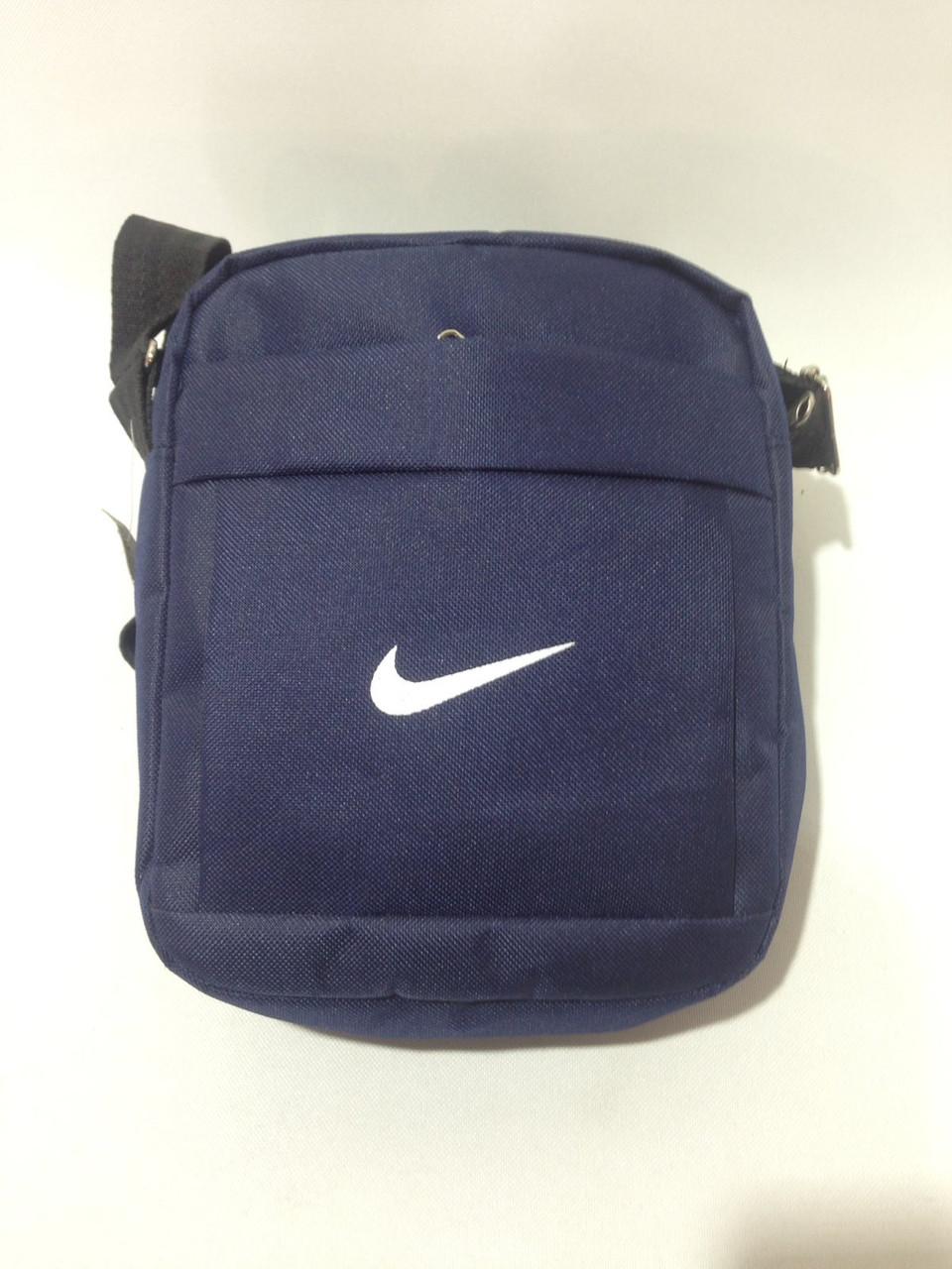 Сумка мужская спортивная через плечо в стиле Nike / синяя