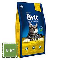 Сухой корм для взрослых кошек с лососем| Brit Premium Cat Adult Salmon  | 8 кг