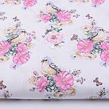 "Лоскут ткани ""Птичка с розами"" на белом фоне (2572), размер 47*80 см, фото 2"