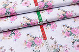 "Лоскут ткани ""Птичка с розами"" на белом фоне (2572), размер 47*80 см, фото 4"