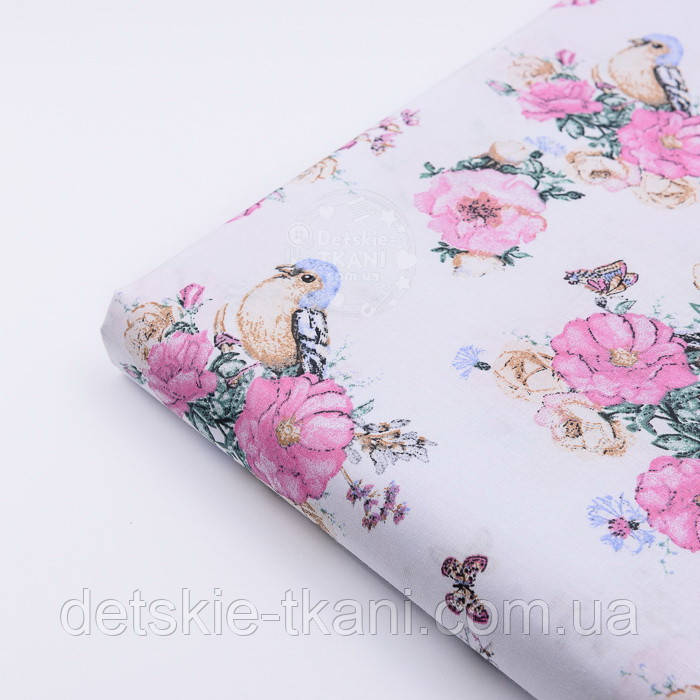 "Лоскут ткани ""Птичка с розами"" на белом фоне (2572), размер 47*80 см"