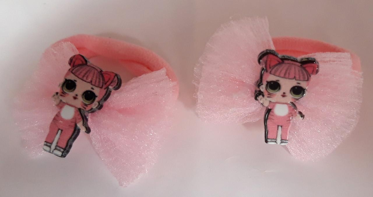 Детские резинки для волос LOL 2 шт бантики розовые