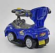 Дитяча машинка-толокар з батьківською ручкою JOY 7008 - В Синій (багажник, мелодії, знімний захисний бампер), фото 4
