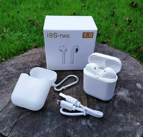 Беспроводная Bluetooth гарнитура Airpods i9S-TWS 5.0 + чехол и карабин