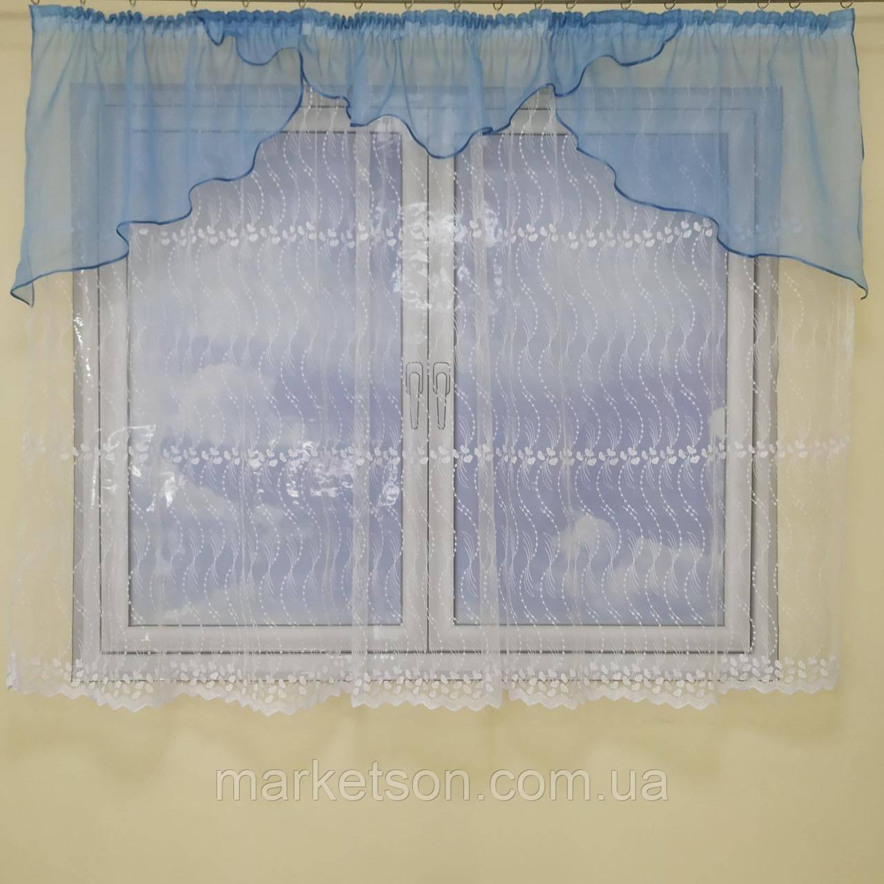 Тюль з ламбрекеном Світлана на карниз 1.5-2м