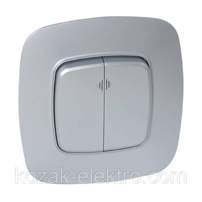 Выключатель 2 клавишный с подсветкой серия ELA цвет серебро