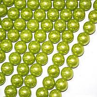 Бусины на нитке акрил под жемчуг 14мм салатовые (40114.003-)