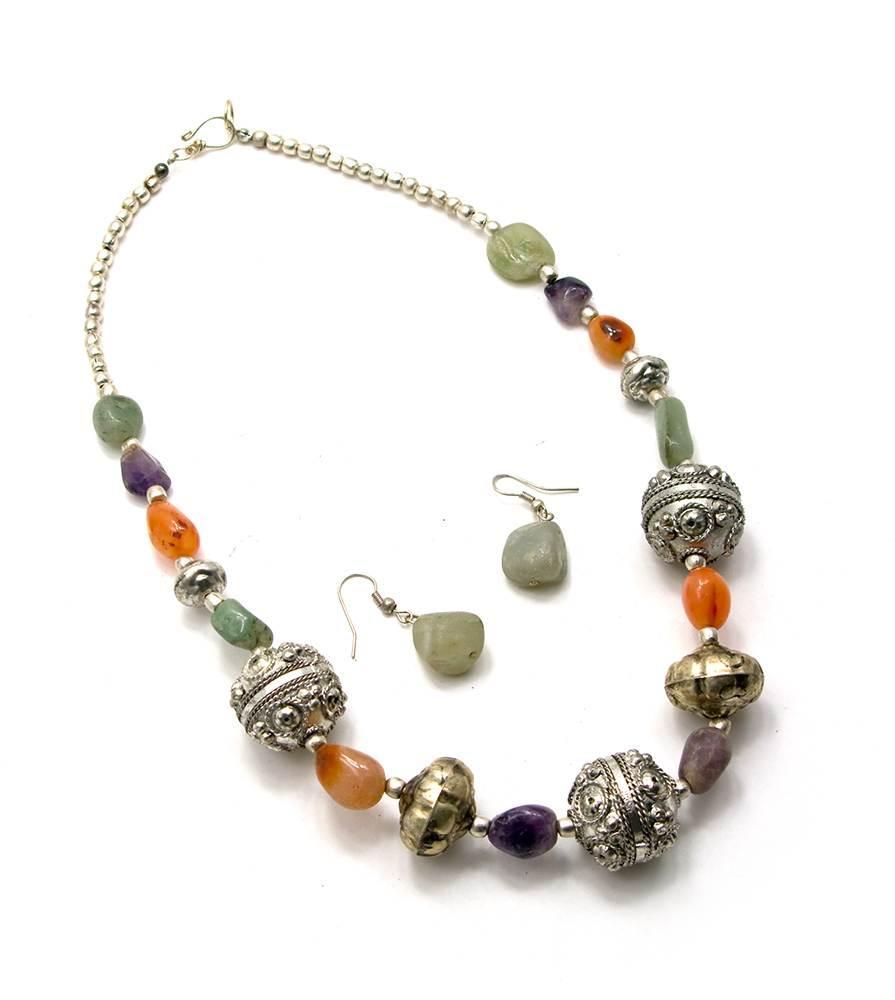 Ожерелье с камнями + серьги