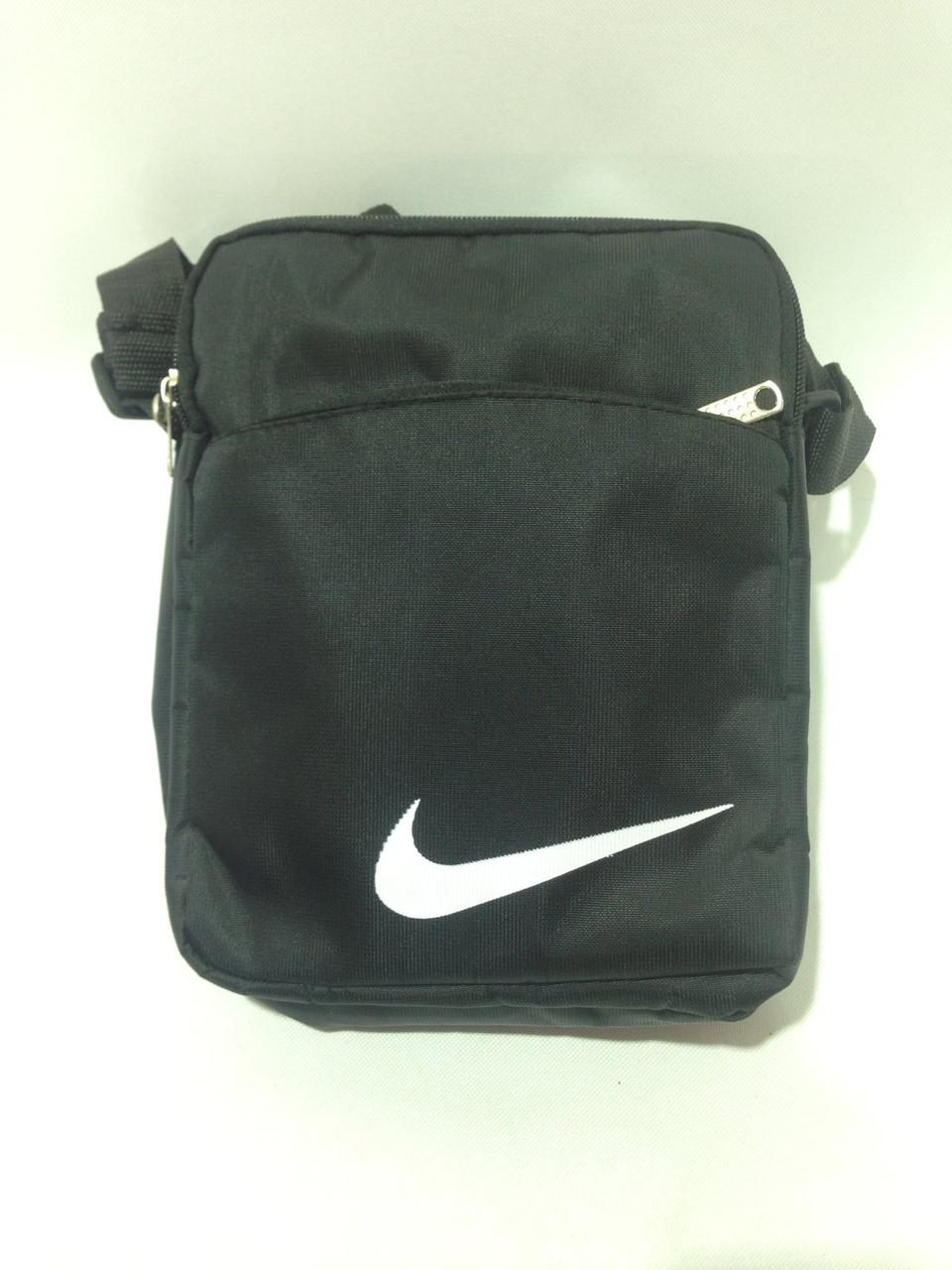 Сумка мужская спортивная через плечо в стиле Nike / черная