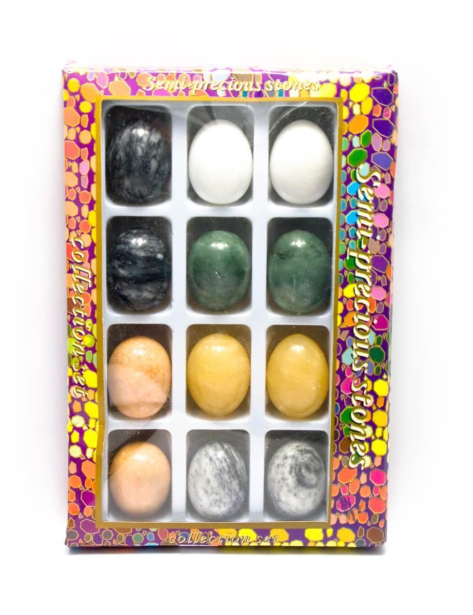 Яйца каменные набор (н-р/12шт)(яйцо h-4.5 см d-3 см)(упаковка 27х18х3,5 см)