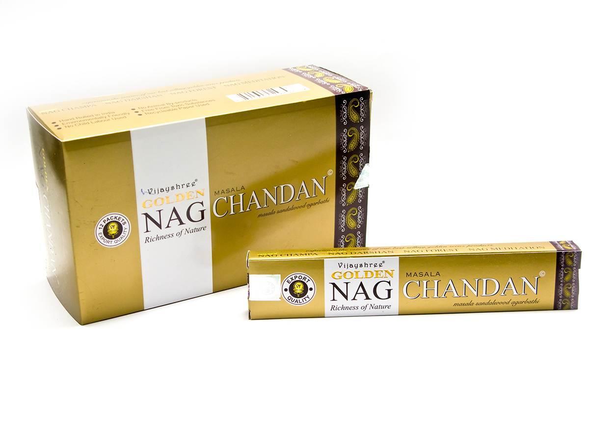 Golden nag chandan (Сандаловое Дерево)(Vijashree)(15 gm) (12 шт/уп)пыльцовое благовоние