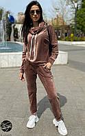 Женский велюровый костюм коричневого цвета. Модель 24822. Размеры 42-48