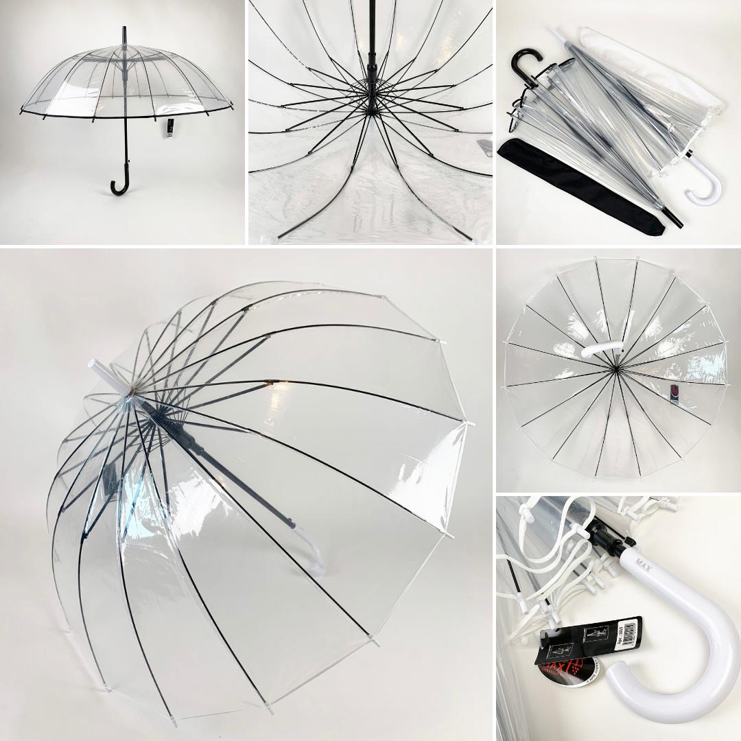 """Прозрачный зонт-трость, полуавтомат с ручкой-крюк и каймой по краю купола от """"MAX"""",  1015"""