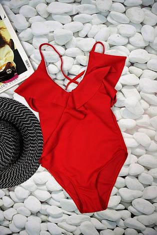 Купальник сдельный красный с рюшами фактурный, фото 2