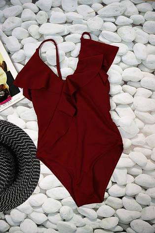 Купальник слитный бордовый с рюшами, фото 2