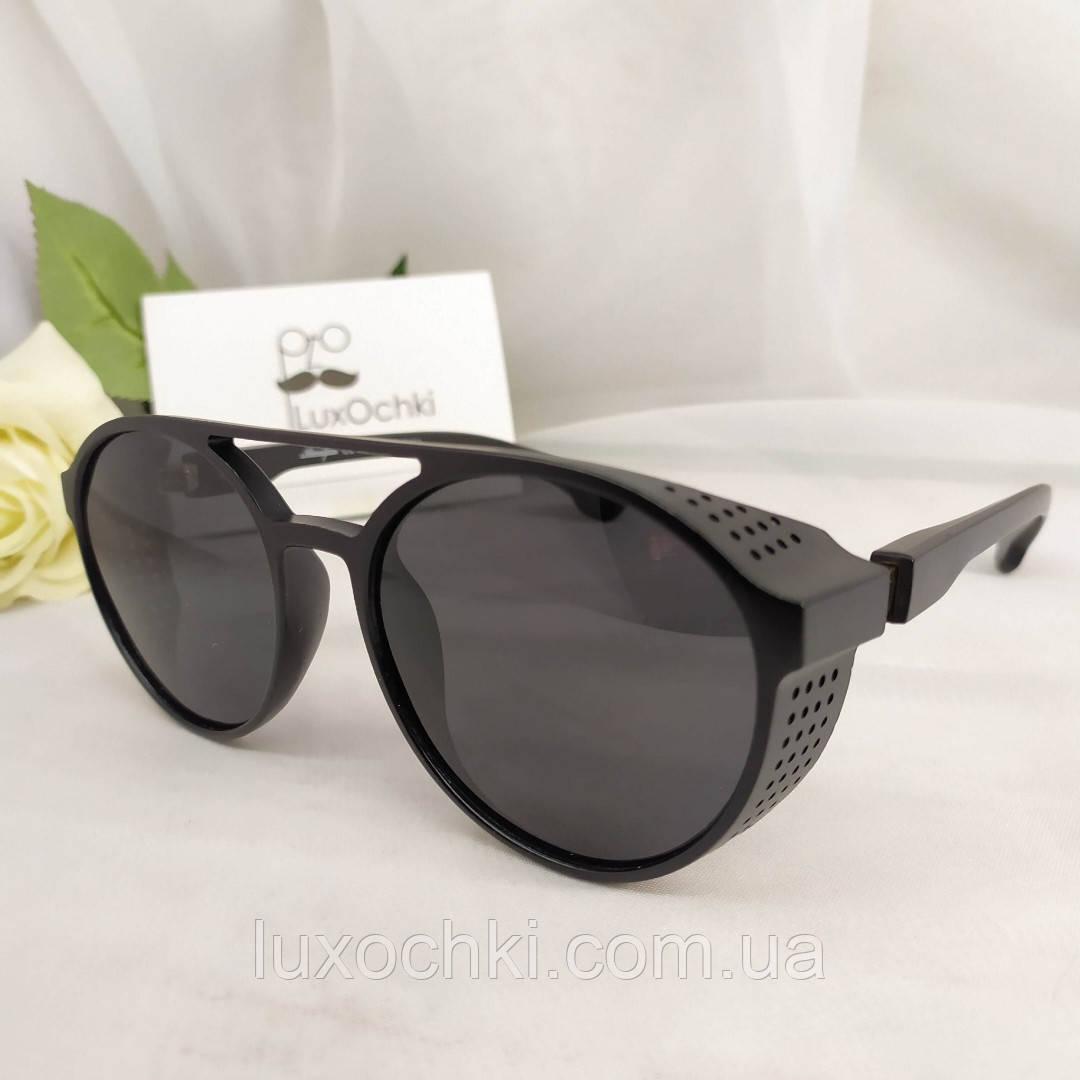 Стильні чоловічі поляризовані окуляри круглі з шорами в пластиковій оправі