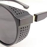Стильні чоловічі поляризовані окуляри круглі з шорами в пластиковій оправі, фото 3